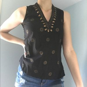 Black & Gold Sleeveless Top S - From India
